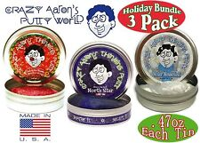 """Christmas Holiday Bundle Gift Set 3 PACK 2"""" tins Crazy Aaron's Thinking Putty"""