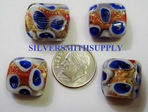 EVIL EYE Protection 4 Gold foiled cobalt art glass lampwork square beads  GBS018