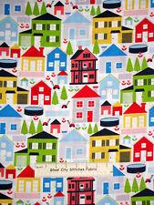 House Fabric - Neighbor Town Neighborhood Houses Timeless Treasures C1061 - Yard