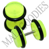 0349 Fake Cheater Illusion Faux Ear Plugs 16G Look 0G Lime Green Frost Glow