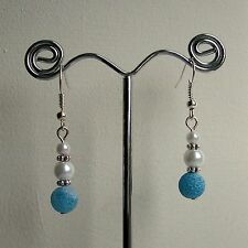 New Crackled Blue Agate & White Glass Pearl Bead Silver Plated Drop Earrings