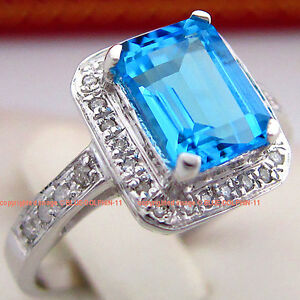 REAL Genuine Natural Diamonds Topaz Solid 9K White Gold Engagement Wedding Rings