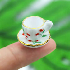 1:12 Dollhouse Miniature Furniture Accessories Cherry Cup With Plate 2Pcs Set ~
