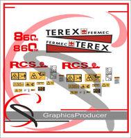 Terex Digger Fermec 860 Digger stickers / decals Warning Symbols Full Set