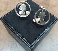 PAUL SMITH DISTRESSED/ANODISED SILVER TONE CUT OUT VINTAGE COIN CUFFLINKS BNIB
