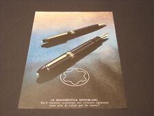 MONTBLANC  Années 1985's - 1990's  Advertising Vintage AD Pub Paper 1980 - 1990