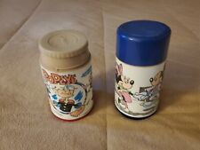 Aladdin Childrens Plastic Thermos x 2 Mickey & Minnie Mouse & Popeye