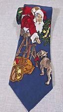 The Saturday Evening Post Vintage Blue Silk Novelty Santa Claus Neck Tie 1996