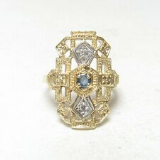 Estate 10K Yellow Gold 0.15 Ct Natural Round Blue Sapphire And Diamond Ring