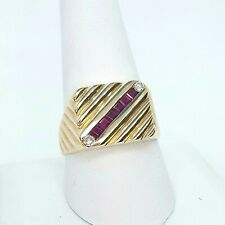 Handsome Men's Ruby , & Diamond 14K Yellow Gold Fashion Ring