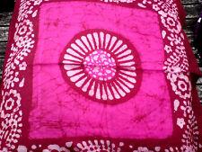 """INDIAN Handmade 100% pura seta Neon Rosa Quadrato 21""""x 21"""" Batik Sciarpa £ 6.95 Nuovo con etichette"""