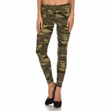 Women's Camouflage Army Printed Leggings Buttery Soft Peach Skin One Size 0-12