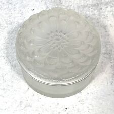 Lalique Dahlia Covered Crystal Glass Powder Box Rare Signed 3.5 X 2.5""