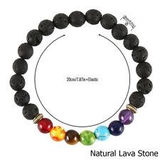 7 Chakra Healing Essential Oil Diffuser Lava Stone Bracelet Aromatherapy Yoga