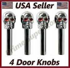 4 New Universal Skull Door Lock Knobs Fit All Cool Chrome/Silver Skulls Head