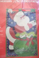 VINTAGE SANTA pouch Jeweled felt CHRISTMAS mail bag GREETING CARD holder KIT new