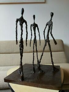 Bronze Sculpture Statue (after) Alberto Giacometti Three Men Walking Signed
