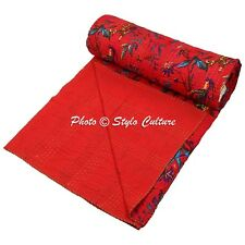Indian Quilt Blanket Queen Cotton Printed Bed Cover Bird Kantha Quilts