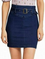 Free People Women's Living It Up Denim Belted Pencil Skirt NWT Sz 12