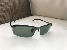 New Mens Polarised Sunglasses Maui Jim Style gun grey/green lens + case