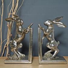 Silver Effect Hare Bookends Home Decor Hares New & Boxed