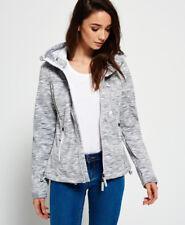 Superdry Softshell Jacket Women Hooded Windtrekker Light Grey Slub Winter White L