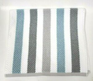 TRULY LOU WHITE,GRAY,BLUE QUICK DRY COTTON BATH,HAND,SET OF 4 WASHCLOTHS TOWEL