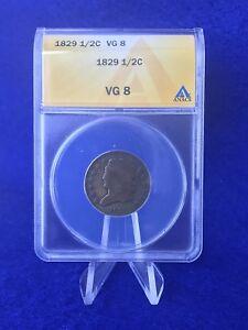 1829 CLASSIC HEAD HALF CENT 1/2c COIN *ANACS VG 8 VERY GOOD*
