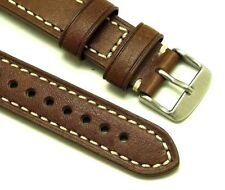 20mm Vintage Brown Leather Contrast Stitch Replacement Watch Band - Shinola 20