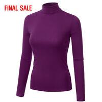 [FINAL SALE]Doublju Womens Basic Long Sleeve Turtleneck Slim Fit T-Shirt Top