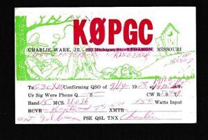 USA Missouri SPRINGFIELD used 1978 illustrated QSL radio card K0PGC to London