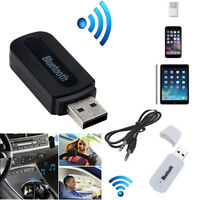 Car USB Wireless Bluetooth 3.5mm AUX Audio Stereo Music Home Receiver Adapter