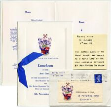 ROYALTY 1971 LUNCHEON MENU + COVER USED SAME DAY BOROUGH of SWINDON GB