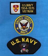 US NAVY 1954-1975 VIETNAM WAR MILITARIA Sew Iron On NOVELTY PATCH SET 3 Pcs New