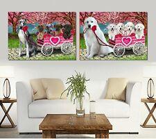 I love Dog Cat canvas Print Wall Art Decor,Valentine Pet Photo Lovers Gift