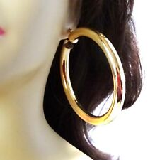 LARGE 3 INCH HOOP EARRINGS EXTRA THICK GOLD OR SILVER TONE ROUND HOOP EARRINGS