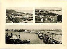 Port de Gdynia Quai Dock Hangars Frigorifiques Gare Ecole Pologne  GRAVURE 1932