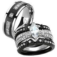 His & Hers Black Stainless Steel Titanium 4 Pcs Wedding Engagement Ring Band Set