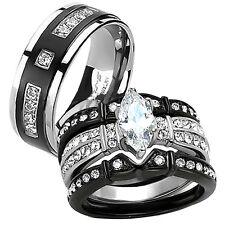 4 Pcs Wedding Engagement Ring Band Set His & Hers Black Stainless Steel Titanium