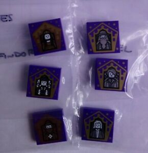 6X Lego Harry Potter Wizard Chocolate Frog Card Printed Tiles ALL DIFFERENT