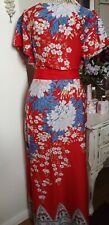Dorothy Perkins Red Oriental Look Floral Maxi Dress Size 16
