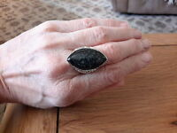 BRAND NEW SILVER TONE RING WITH A LARGE GREY STONE  SIZE O+1/2 WITH GIFT BOX
