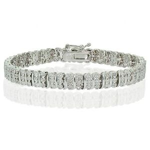 0.25ct Natural Diamond S Pattern Bracelet in Gold, Rose or Silver Plated Brass