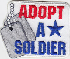 """""""ADOPT A SOLDIER""""- Iron On Embroidered Patch - MILITARY - PATRIOTIC - ARMY"""