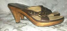 MICHAEL KORS Brown Leather Brass Hardware Mule Sandals Heels Size 8.5M