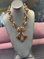 Necklace Bohemian WOW Seed Bead Natural Wood Pendant Necklace 18""