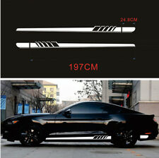 2x Car Graphics Side Body Decoration Sticker Long Stripe Vinyl Decals White DIY