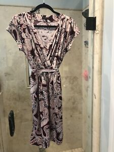 Banana Republic Fall Colors Paisley Moc Wrap Belted Dress Size XSP