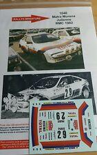 Decals 1/24 réf 1040 Matra Murèna Julienne Monte Carlo 1982