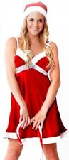 Womens Sexy Red & White Christmas Xmas Sparkle Dress Costume Size 10 - 12